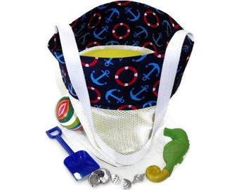 Beach Bag, Mesh Sand Toy Bag, Anchor Beach Bag, Beach Tote, Toddler Boy Toy Bag, Gift For Boys, Sand Toys, Pool Toys, Toy Storage,