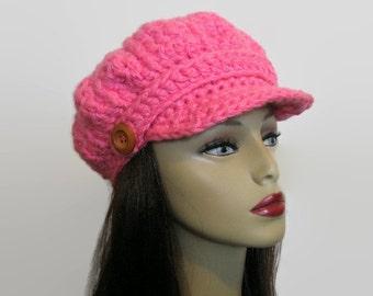 Pink Newsboy Hat Women March HatCrochet Newsboy Hat Bright Pink Hat with Visor Adult Newsboy Pink Cap Crochet Newsboy knit Cap with Buttons