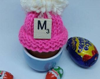 Personalised easter egg hats - easter egg warmer - egg warmer - hand knitted boiled egg hat - novelty tiny bobble hat - easter gift
