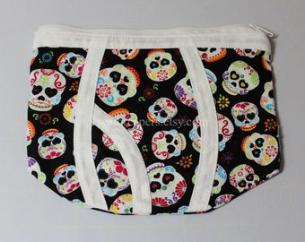 sugar skull zipper underwear purse