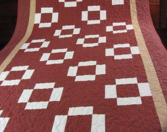 Signature Quilt Anniversary Birthday Retirement Graduation Get Well Gift Lap Size Nap Size Twin Topper Red White Made in Maine