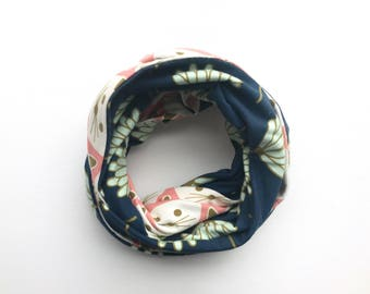 Child infinity scarf with snaps - toddler scarf - cats and flowers