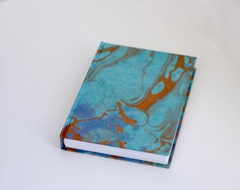 Rio de Janeiro Book - Marbled Turquoise & Purple with Copper Swirl Casebound Notebook