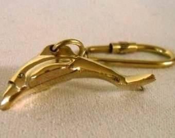 6X Keyring - maritime dolphin fish solid brass, wood - carabinerha