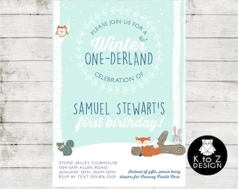 Winter ONEderland/Winter One-derland/Boy Winter One-derland Invitation/ Printable Invitation / Printed Invitations