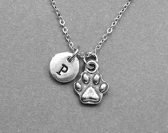 Dog Paw Necklace, Dog Paw Charm, Paw Necklace, Pet necklace, Pet charm, personalized, hand stamped, initial necklace, initial, monogram