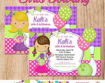 GIRLS bowling party invitation - YOU PRINT - with or without photo -2 to choose