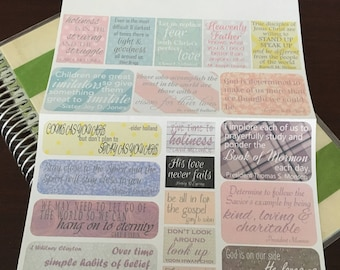 April 2017 LDS General Conference Quotes Planner Stickers -- Made to fit Mormon Mom Planner