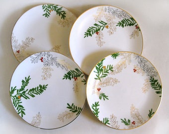 4 Dessert Plates Porcelain Lenox Merry Bright Pine And Berry Pattern New in Box