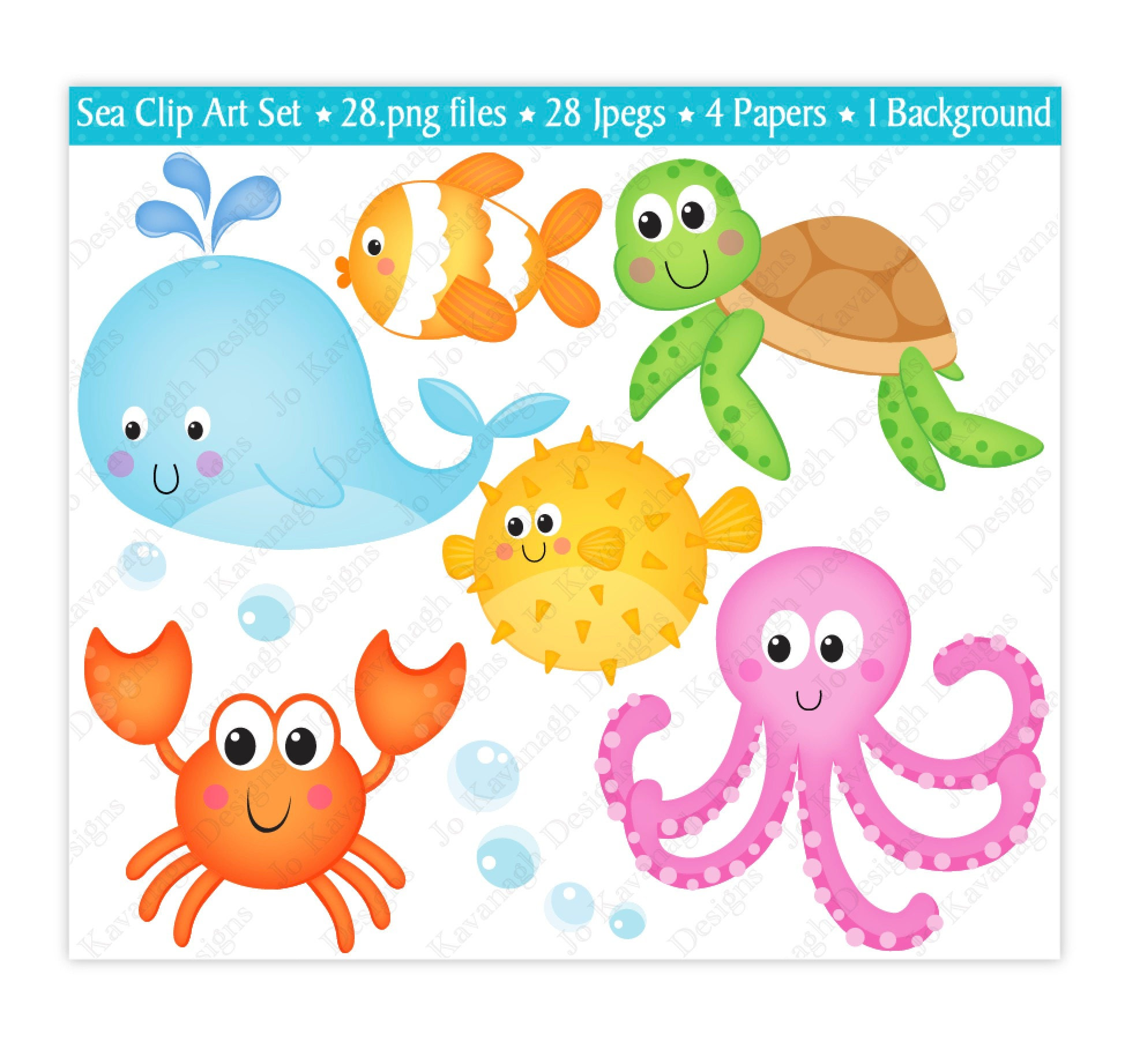 sea animals clip art under the sea clipart under the sea digital rh etsystudio com sea animal clipart for kids sea animals clip art images