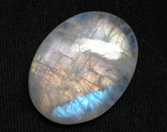 Rainbow Moonstone Oval Designer Cabochon,Size-31x24x7 MM,Multi,Flash Moonstone,AAA,Loose Gemstone,Smooth Cabochons.