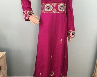 1970s Prairie Chic Magenta Maxi Dress