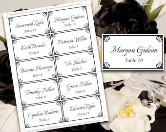 "Wedding Place Card Template - Black Escort Card Printable Wedding ""Antique Chic"" Name Card Template - Printable Place Card FLAT DIY Wedding"