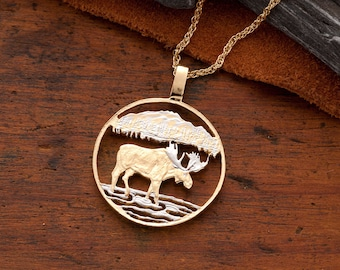 Moose pendant etsy moose pendant necklace canada one dollar coin hand cut 14 karat gold and rhodium plated 1 in diameter 419 aloadofball Images