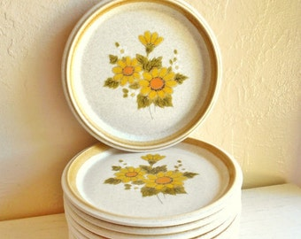 Vintage Mikasa Yellow Daisies Melissa Line Small Salad Plates - Set of 6 or 12 Saucers