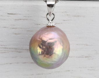 12.5mm natural metallic color unique pendant necklace,large baroque pearl necklace,similar kasumi pearl,unique pearl necklace gift,ONLY ONE
