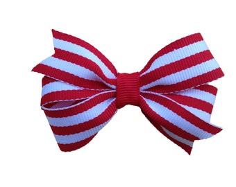 Red striped hair bow - hair bows, bows, hair clips, hair bows for girls, baby bows, girls hair bows, hair clips for girls, hairbows
