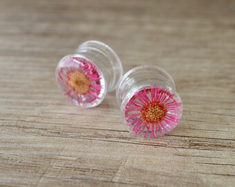 """9/16"""" 14mm red real Daisy flower ear plugs floral gauges real flower expander Girly plugs Alternative Body Jewelry plug jewelry Resin Plugs"""