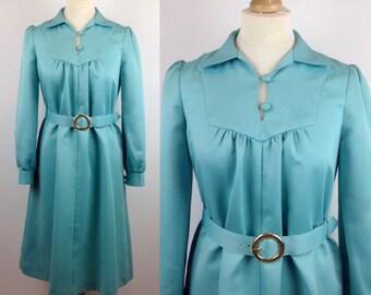 Vintage 70s Green Dress, Retro Dress, Evening, Long Sleeved Dress, Belted Tent Dress, Size 10 12 UK, Medium Womans Clothing
