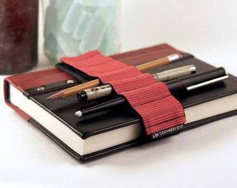 Adjustable Bandolier // red stripes // (a better pencil case, journal pen holder, book strap, pen loop, pencil roll, pen bandolier)