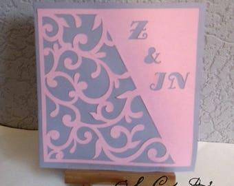"""10 INVITATIONS / FAIRE-PART mariage """"arabesques et initiales"""", carte laser - entièrement personnalisable, couleur au choix"""