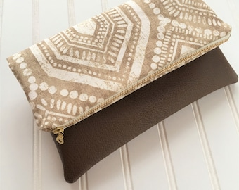 Khaki Ibiza foldover clutch-vegan leather foldover bag - bridesmaid gift - printed clutch - fold over clutch - vegan leather clutch bag