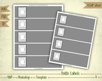 Water Bottle Labels - Digital Collage Sheet Layered Template - (T008)