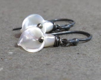 Calla Lily Earrings White Flower Shell Mother of Pearl Petite Oxidized  Sterling Silver Earrings
