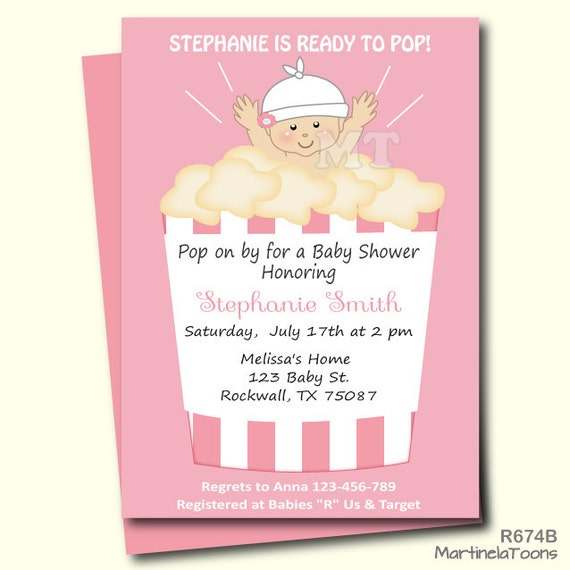 Items Similar To Ready To Pop Baby Shower Invitation Cute Popcorn