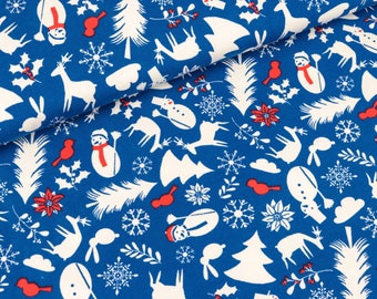 Cotton jersey Crazy Christmas blue-white-red Lillestoff (19.90 EUR/meter)