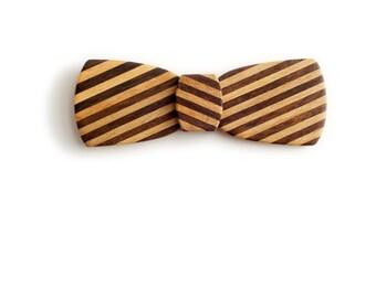 Batwing Wood Bow Tie - Slash Pinstripe