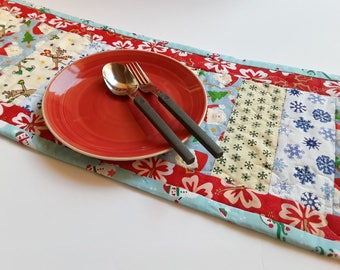 Retro Decor, Table Runner, Whimsicle Christmas, Quilted Runner, Blue And Red