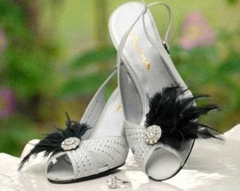 Black & Silver Shoe Clips. White Ivory Blue Feathers Rhinestone. Bride Bridal Bridesmaid Couture, Ebony Wedding Birthday Statement Burlesque
