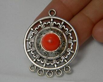 Earring Chandelier Orange Red Antique Silver Connectors 2 pcs, Pendant Focal, Chandelier Links