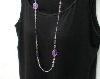 "Amethyst and Ametrine Long Necklace, 36"",Ametrine Long Necklace, Amethyst Long Necklace, February Birthstone"
