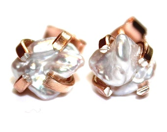 Keshi Pearl Earring Grey Earring Natural Pearl Stud Keshi Pearl Jewelry Rose Gold Earring Modern Jewelry Keshi Earring Wedding Stud Earring