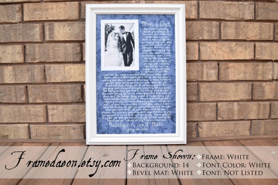 Parents Wedding frame Thank you parent gift Custom Picture