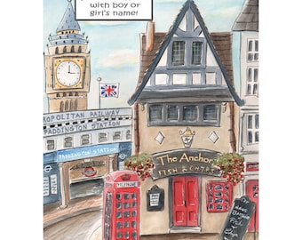 Canvas OR Print, Paddington Station, London Big Ben Personalized Fish And Chips Shop With Boys Name, Paddington Themed Boys Bedroom Decor