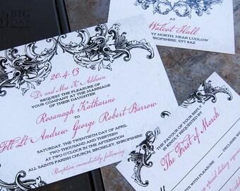 Gothic Elegance Wedding invitation Set. Vintage gothic wedding invitations