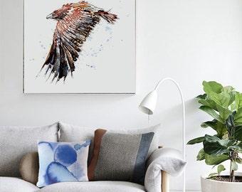 Australian Wedge Tail Eagle Art Print Bird Watercolour Illustration Giclee Square Art Print