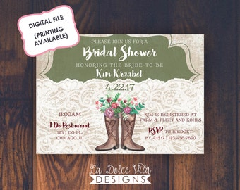 Lace Country Cowgirl Boot Bridal Shower Invitation Watercolor Flowers