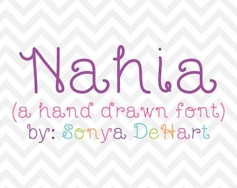 80% OFF SALE Digital Font- Nahia a Handmade Handwritten Downloadable Font from Sonya DeHart Design