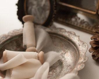 ivory silk ribbon, silk ribbon, hand dyed ribbon, Bouquet ribbon, vintage ribbon, gift wrap, floral wrap, ribbon, hand dyed silk