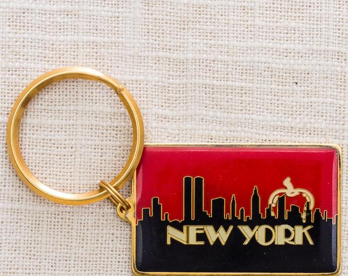 New York City Vintage Keychain Enamel & Gold NYC Big Apple Pre-9/11 (Twin Towers) New York City Skyline Key FOB Brass Key Chain Souvenir 7KC