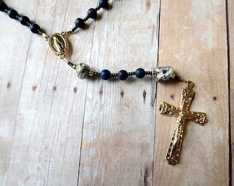 Matte Lapis Lazuli Rosary with Pyrite, Dark Blue Rosary Beads with Miraculous Medal Center