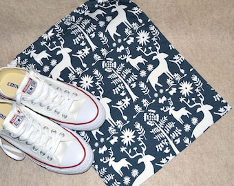 Navy Deer Forest Drawstring Travel Shoe Bag