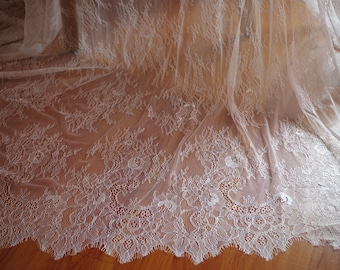 Chantilly lace fabric, bridal chantilly lace, retro wedding lace fabric with double scalloped edges