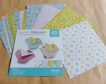 20 sheets of ORIGAMI paper print leaf flower pattern geometric on one side and plain on the other 4 different designs 15 x 15 cm 80gsm
