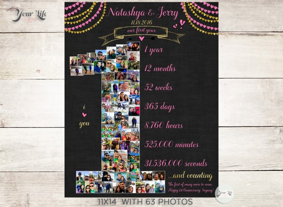 St anniversary collage with heart banners anniversary photo
