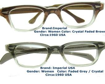 1960 imperial eyewear/ Men Eyewear  /  tart arnel style /smoke brown  / smoke grey / retro / dead stock / vintage eyewear